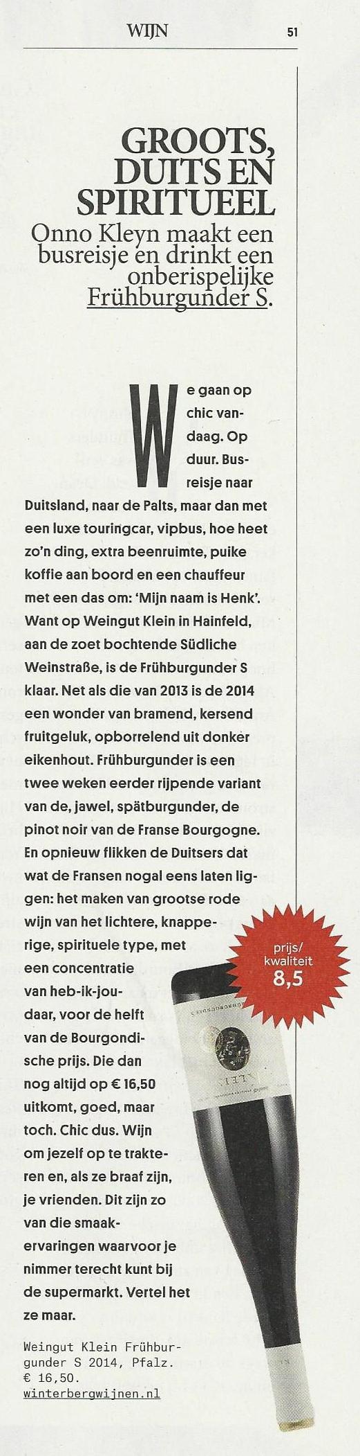 Frühburgunder Klein in Volkskrant 30-4-2016