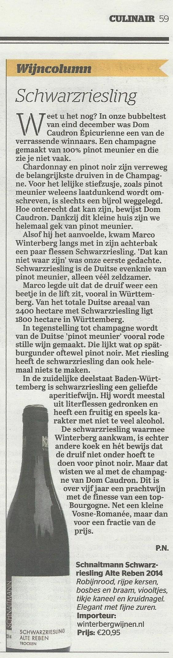 Schwarzriesling Telegraaf 18-02-2017