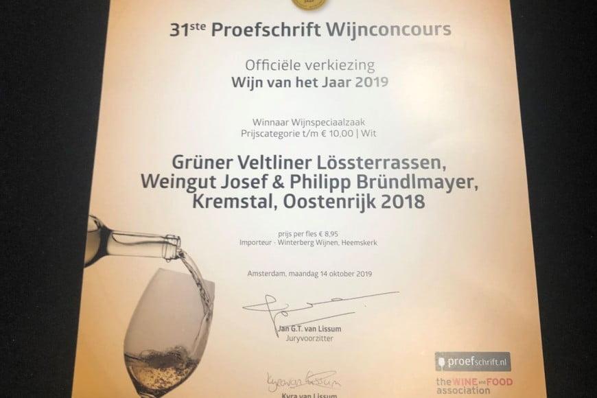 Oorkonde Wijn van het jaar 2019 Bründlmayer 2