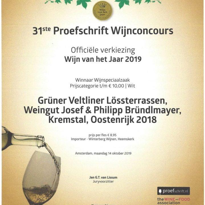 Oorkonde Wijnconcours 2019 GV Lössterrassen