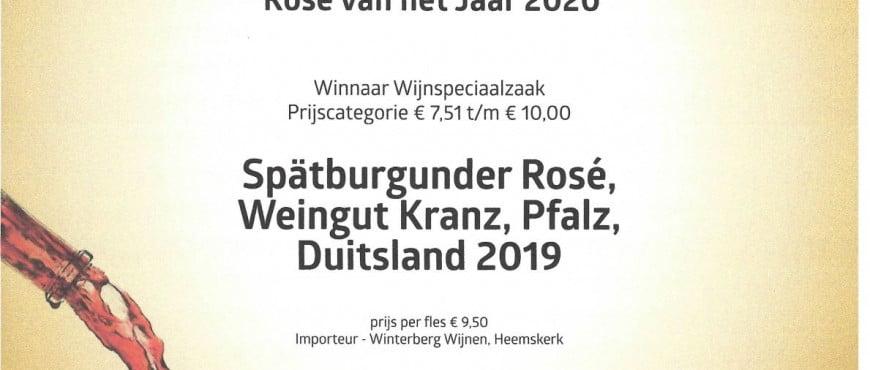 Oorkonde Roseé van het jaar 2020